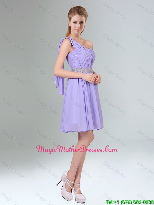 Sassy Beaded and Ruched Short Mother Of The Bride Dresses in Lavender