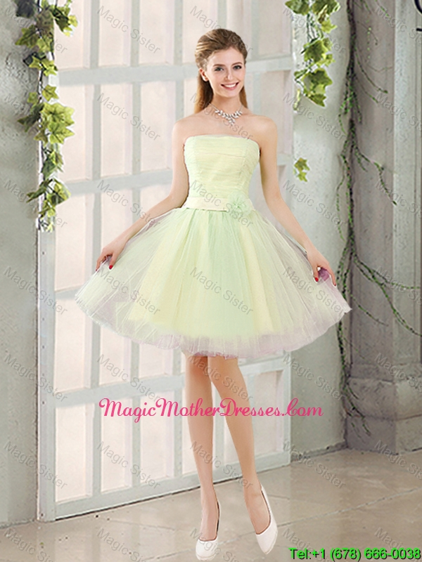 Custom Made A Line Strapless Tulle Mother Of The Bride Dresses with Belt