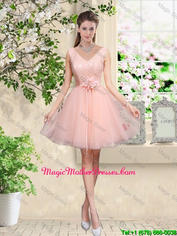 Decent V Neck Baby Pink Mother Of The Bride Dresses with Hand Made Flowers