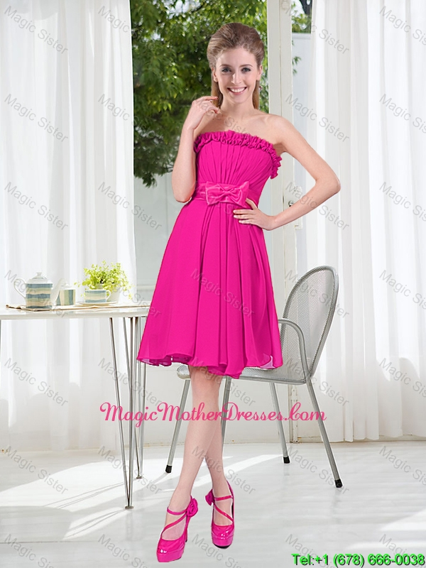 Summer A Line Strapless Short Mother Of The Bride Dresses with Bowknot