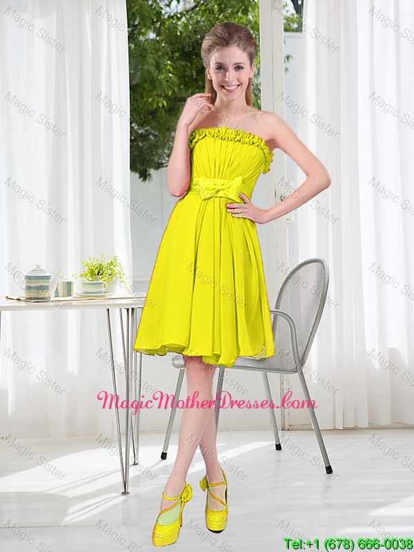 A Line Strapless Bowknot Custom Made Mother Of The Bride Dresses for Party