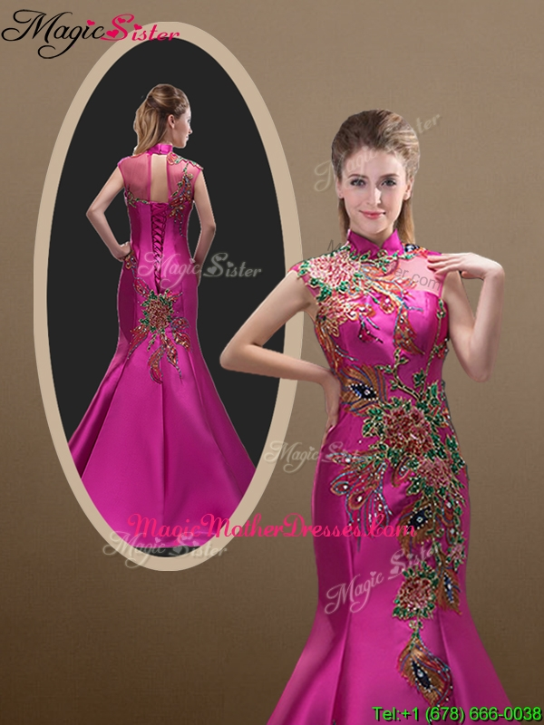 2016 New Style Mermaid Brush Train Mother Of The Bride Dresses with Appliques and Beading