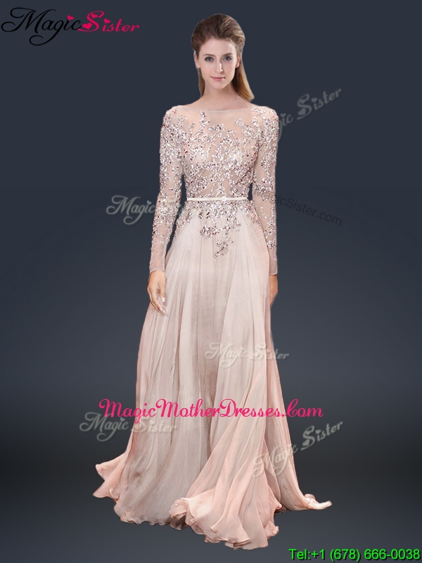 Cheap Brush Train Champagne Mother Of The Bride Dresses