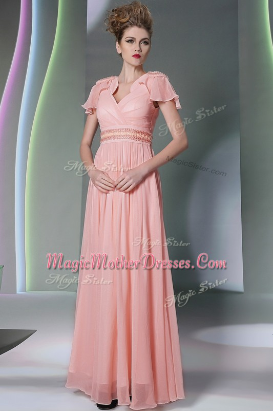 Pink V-neck Side Zipper Beading and Ruching Mother Of The Bride Dress Cap Sleeves