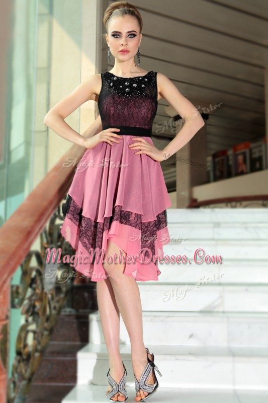 Elegant Scoop Chiffon Sleeveless Asymmetrical Mother Of The Bride Dress and Beading and Lace