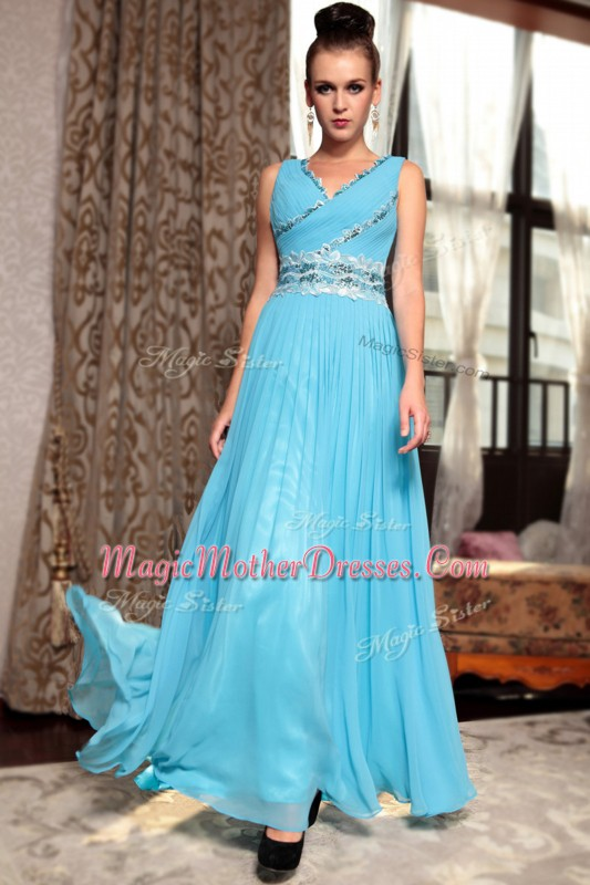 Affordable Baby Blue Chiffon Side Zipper V-neck Sleeveless Ankle Length Mother of the Bride Dress Beading and Appliques and Ruching