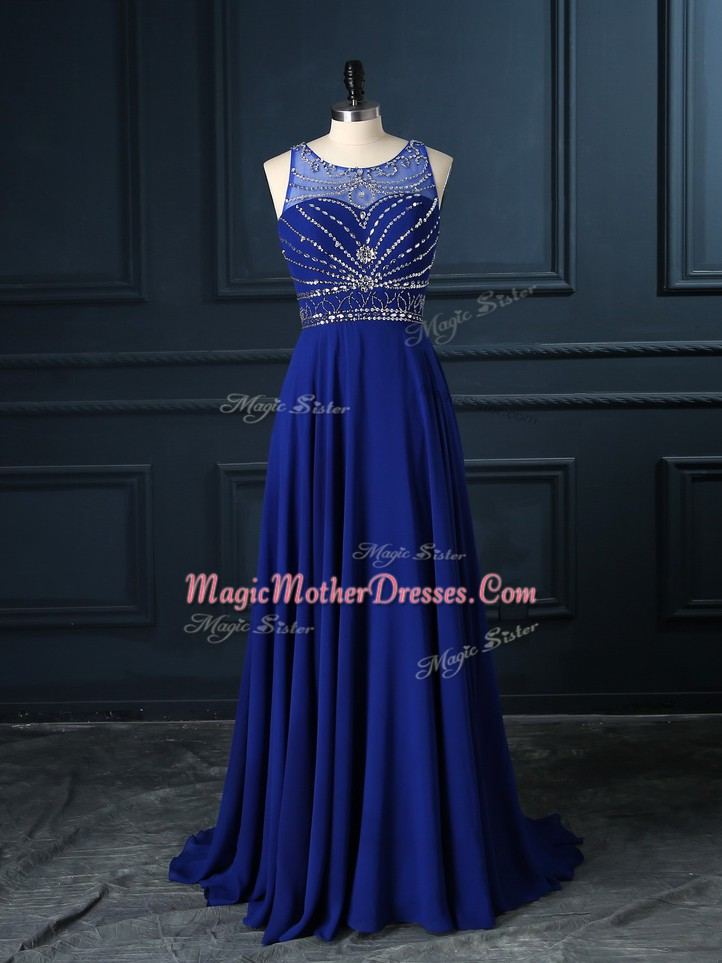 Fantastic Royal Blue Sleeveless Brush Train Beading Mother Of The Bride Dress
