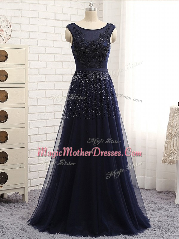 Navy Blue Empire Scoop Sleeveless Tulle Floor Length Zipper Beading Mother Of The Bride Dress