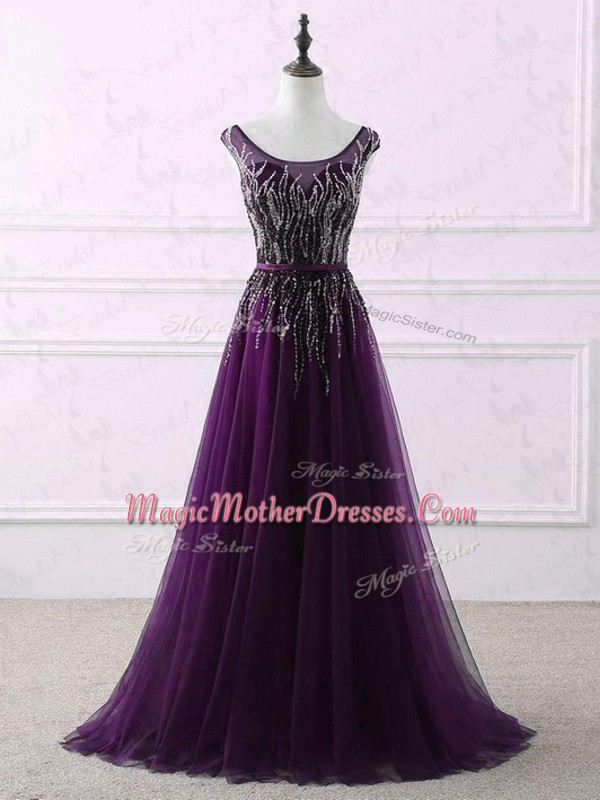 Pretty Eggplant Purple Mother Of The Bride Dress Scoop Sleeveless Sweep Train Zipper