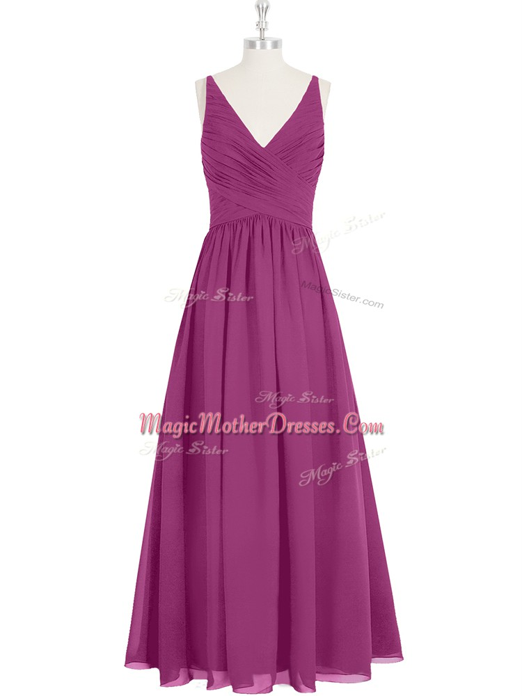 Sleeveless Floor Length Ruching Zipper Mother Of The Bride Dress with Fuchsia