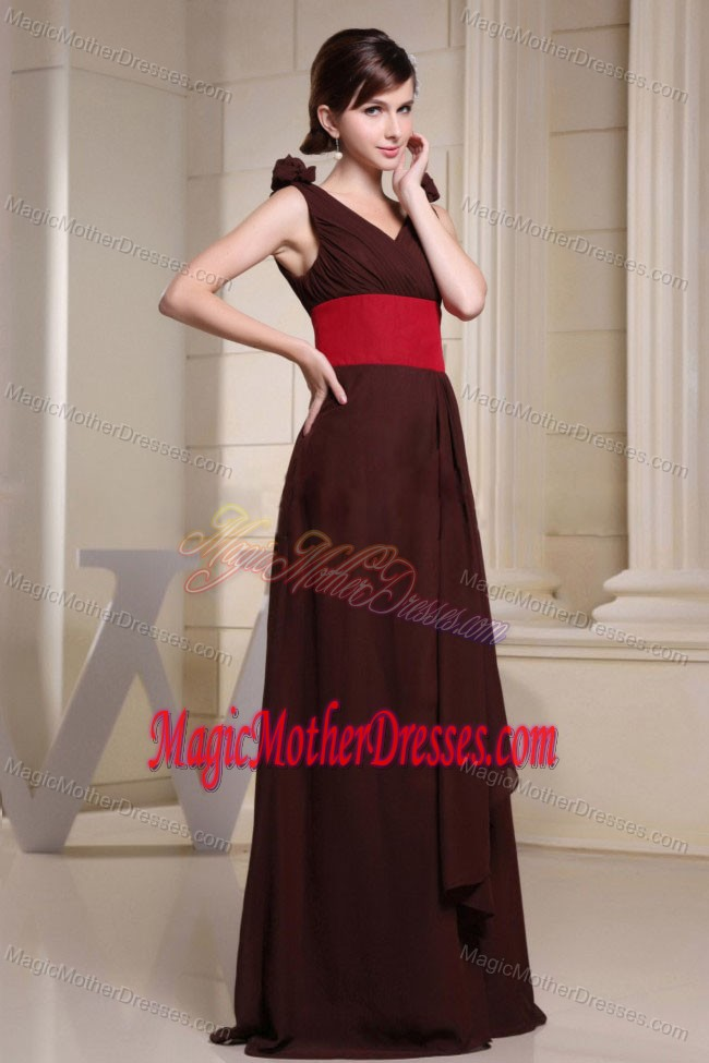 V Neck Brown Maxi Mother Of The Bride Dress For Wedding Reception