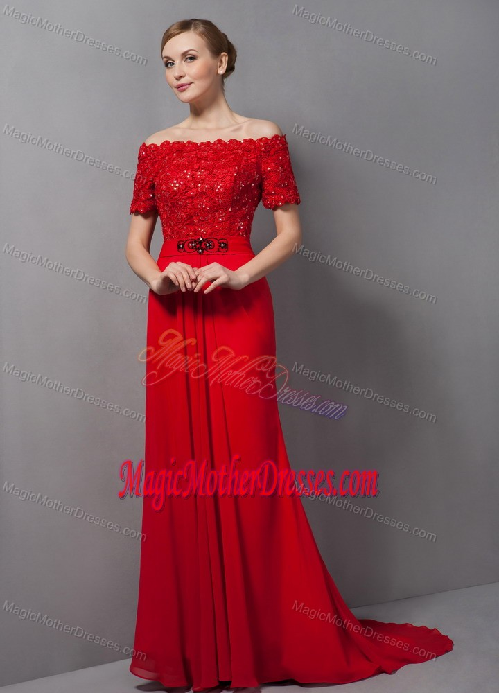 dee5a1c065a Off The Shoulder Lace Chiffon Mother Bride Dress for Winter Wedding