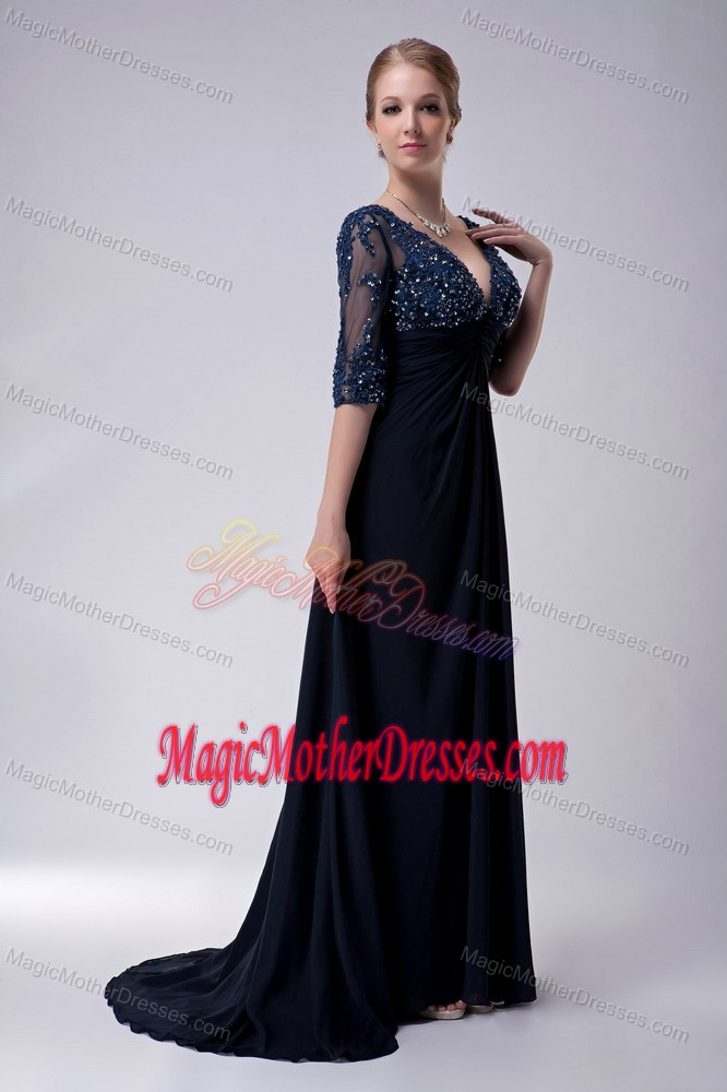 V-neck Half Sleeves Navy Blue Mother of the Bride Outfits with Appliques