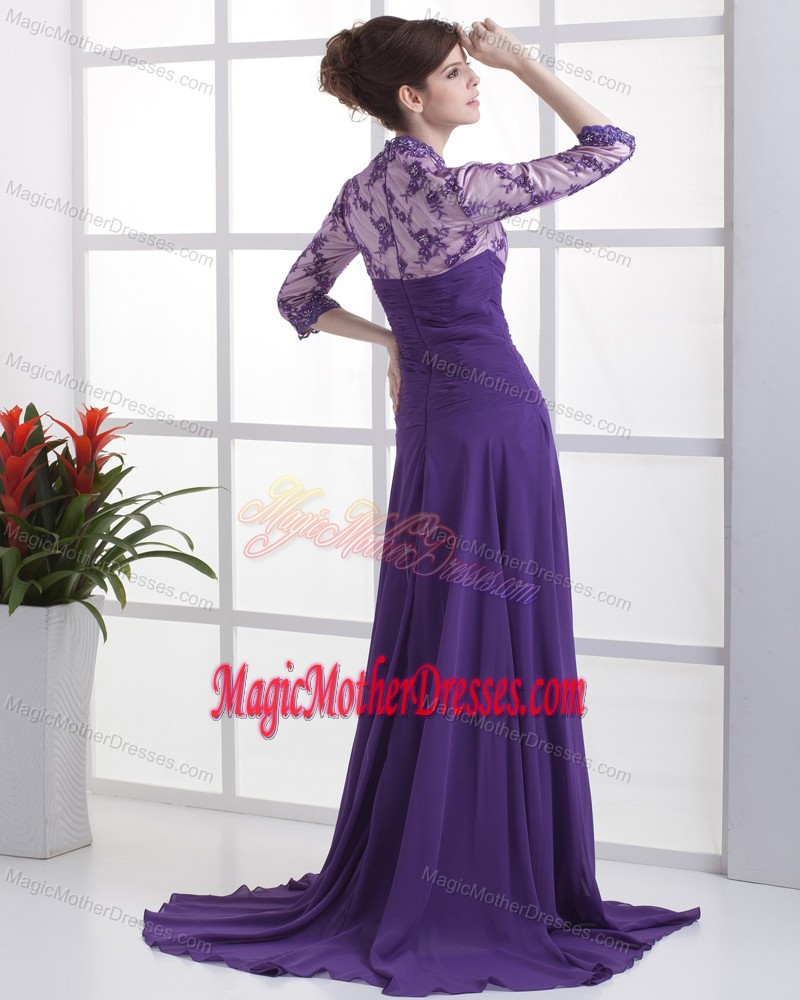 Lace with Beading V-neck 3/ 4 Sleeves Purple Dress For Bride Mother