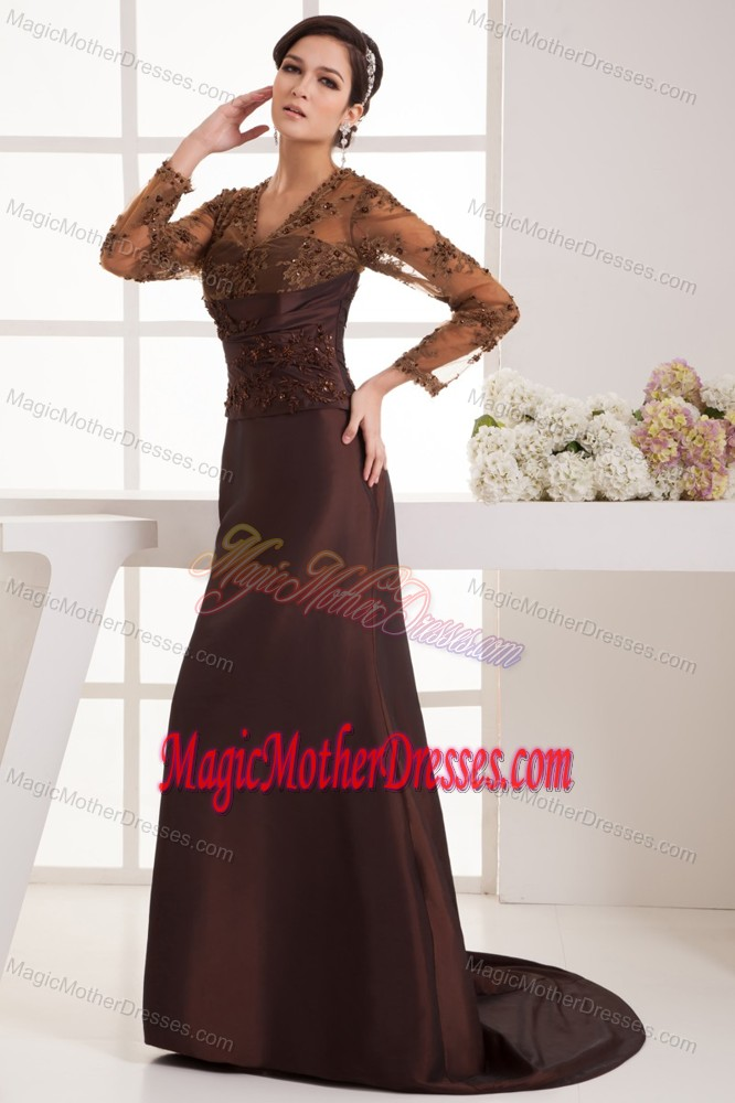 Brown Appliques Brush Train Mother Dresses for Summer Wedding in MN
