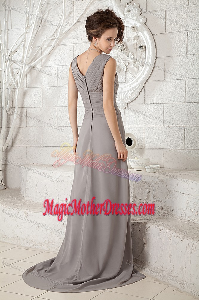 Gray Brush Train Empire Chiffon Mother in Law Dress with V-neck 2014