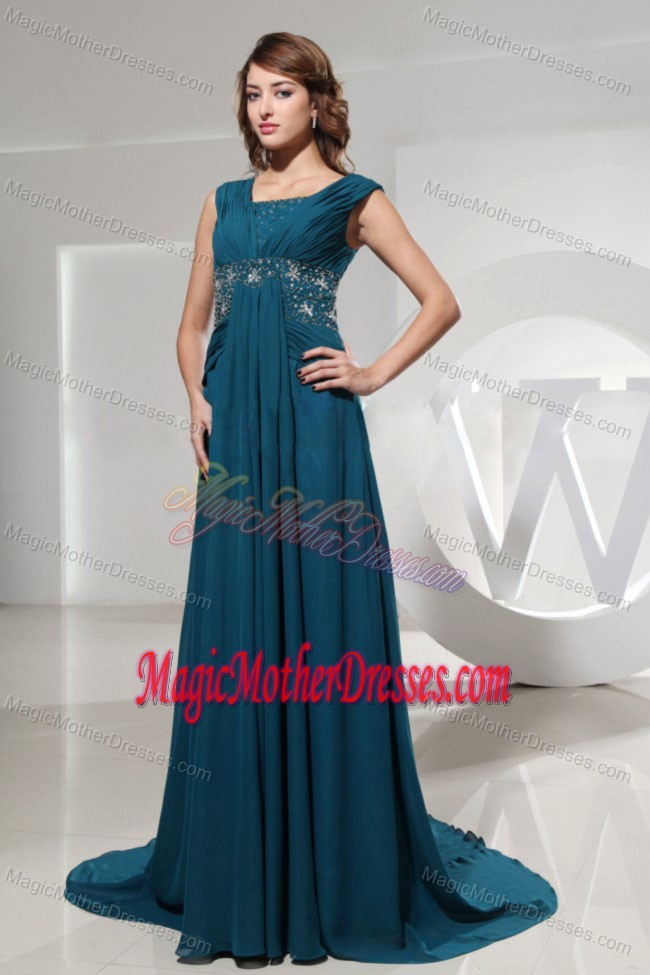 Brush Train Square Blue Mother Bride Dress With Beading In New York
