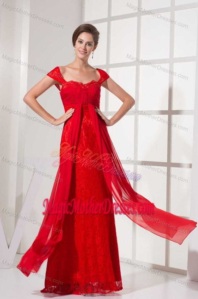 Lace cap sleeves square red 2014 new mother dresses in for Wedding dresses harrisburg pa