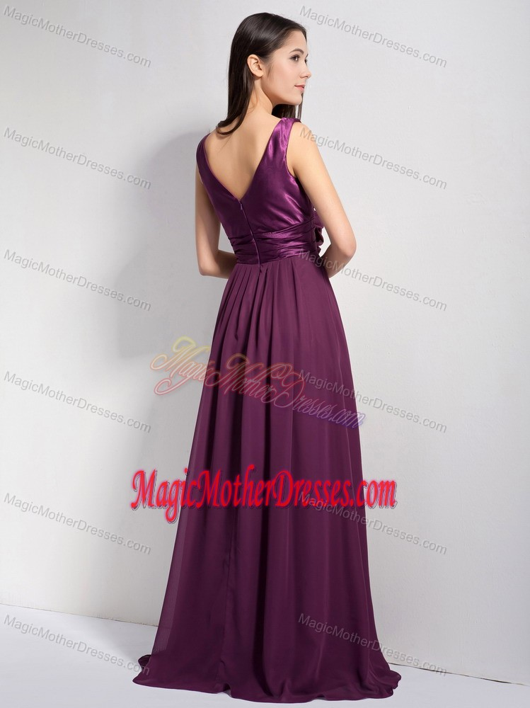 Ruffled Dark Purple V-neck Mother Dress with Brush Train in Cary