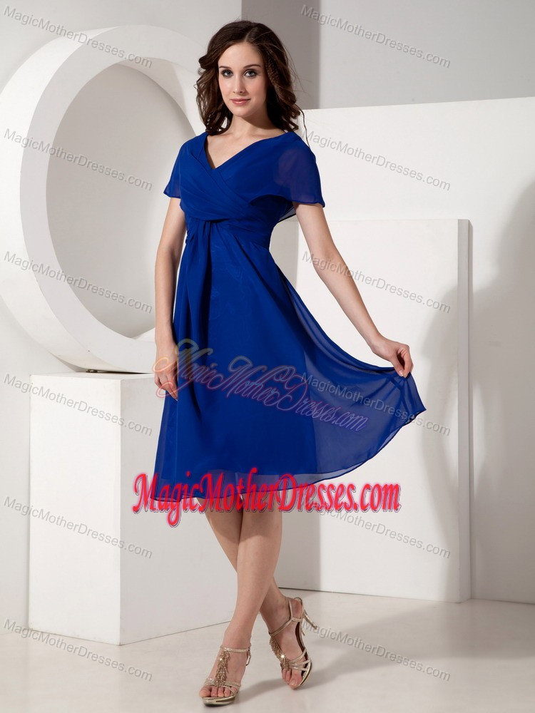 V Neck Chiffon Ruched Royal Blue Mother Bride Dresses In Albany