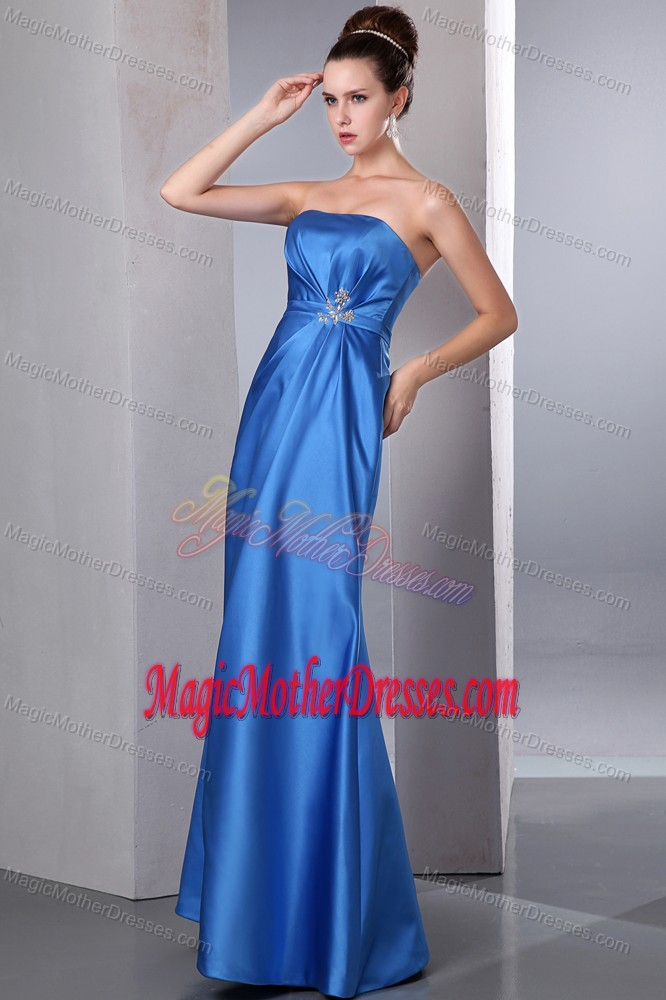 Satin Blue Beading Strapless Newark Mother Of The Bride Outfits