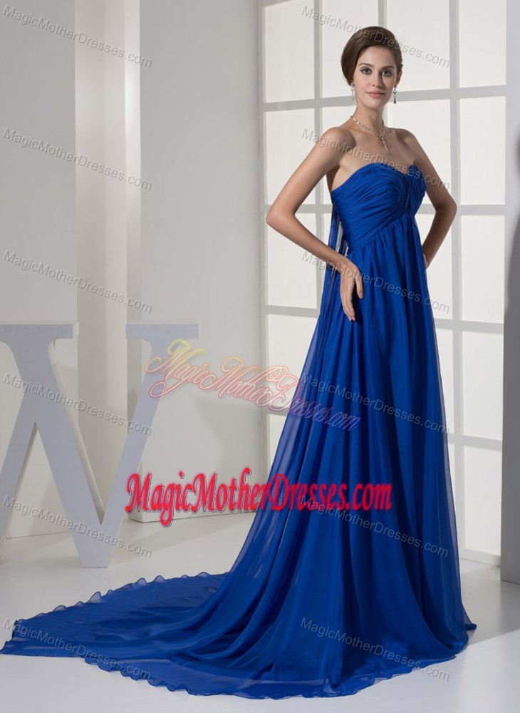 Watteau train ruched blue wedding outfits for mothers in for Wedding dresses branson mo