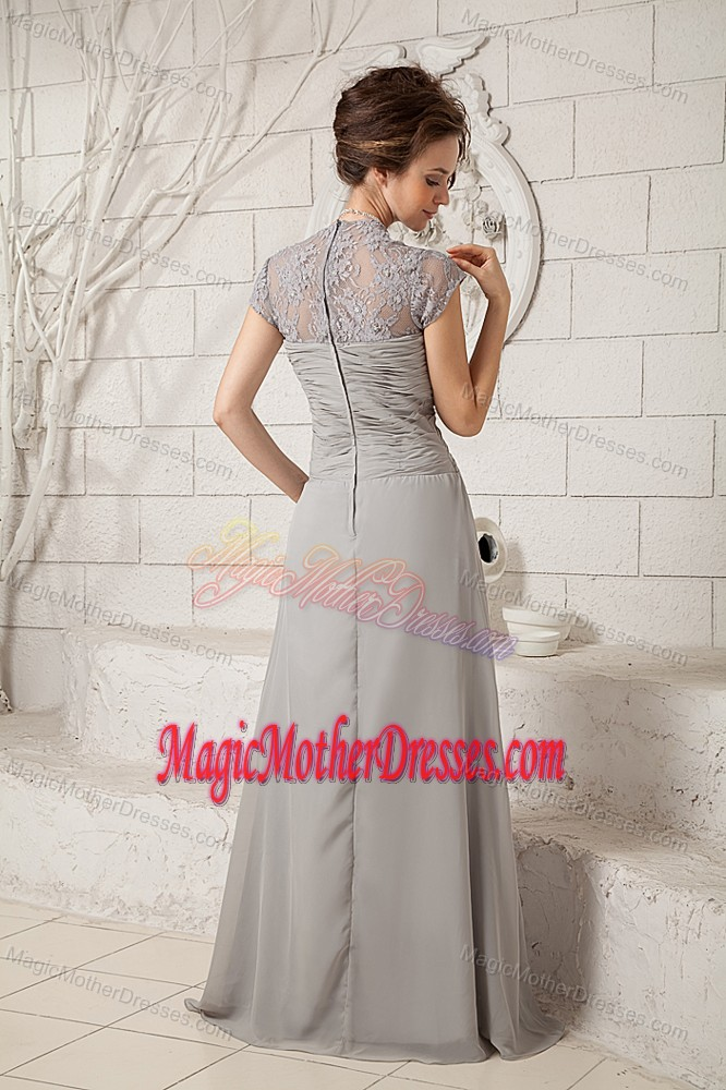 Floor-length V-neck Ruching Lace Grey Chiffon 2013 Mother Party Dress