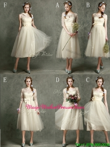 New Arrivals Tea Length Tulle Mother Of The Bride Dresses in Champagne