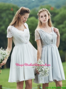 New Short Sleeves Mother Of The Bride Dresses with Belt and Lace