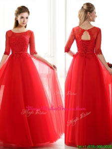 See Through Scoop Half Sleeves Red Mother Of The Bride Dresses with Lace and Belt