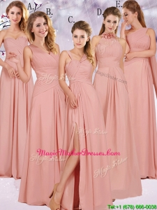 Best Selling Chiffon Peach Long Mother Of The Bride Dresses with Ruching