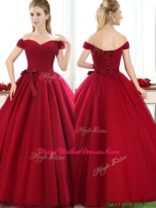 Elegant Off the Shoulder Wine Red Mother Of The Bride Dresses with Bowknot