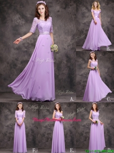 Perfect Applique and Laced Lavender Long Mother Of The Bride Dresses in Chiffon