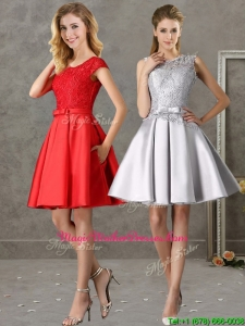 Popular Scoop Cap Sleeves Mother Of The Bride Dresses with Bowknot and Lace
