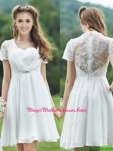 See Through Short Sleeves White Mother Of The Bride Dresses with Belt and Lace