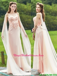 Unique Bateau Watteau Train Light Pink Mother Of The Bride Dresses with Applique