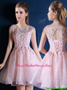 Exquisite Baby Pink Scoop Mother Of The Bride Dresses with Appliques and Beading