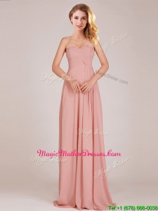 Fashionable Empire Chiffon Ruched Long Mother Of The Bride Dresses in Peach