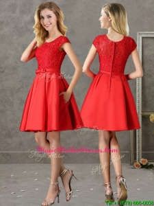 Gorgeous Scoop Cap Sleeves Red Mother Of The Bride Dresses with Lace and Bowknot