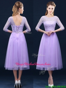 Latest Half Sleeves Tea Length Laced Mother Of The Bride Dresses in Lavender