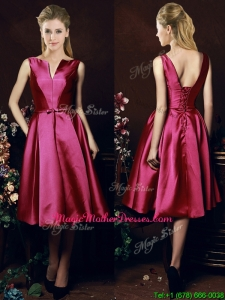 Popular V Neck Knee Length Bowknot Mother Of The Bride Dresses in Fuchsia