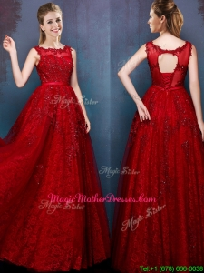 See Through Scoop Wine Red Mother Of The Bride Dresses with Beading and Appliques