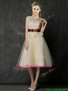 Classical See Through Scoop Mother Of The Bride Dresses with Bowknot and Lace