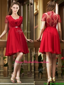Elegant See Through Back Red Short Mother Of The Bride Dresses with Short Sleeves