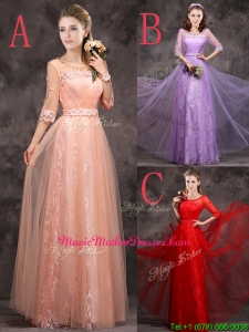 Exclusive See Through Scoop Applique and Laced Mother Of The Bride Dresses with Half Sleeves