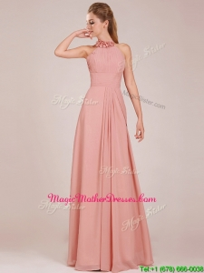 Low Price Halter Top Peach Long Mother Of The Bride Dresses in Chiffon