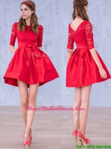 Romantic Bowknot and Laced Scoop Half Sleeves Mother of Groom Dresses in Red