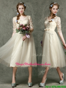 Romantic V Neck Half Sleeves Mother Of The Bride Dresses with Lace and Belt