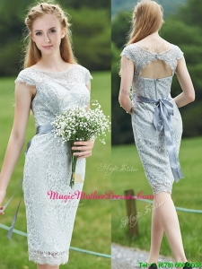 Wonderful Scoop Cap Sleeves Sashes Mother of Groom Dresses in Grey
