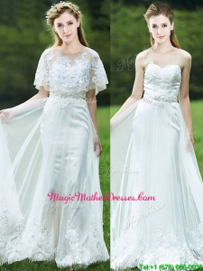 Cheap A Line Applique White Mother of Groom Dresses with Brush Train
